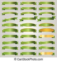 verde, fitas, jogo, vetorial