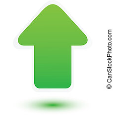 verde, flecha arriba