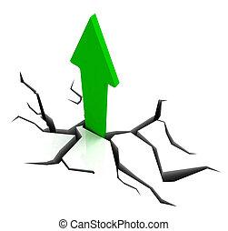 verde, flecha ascendente, exposiciones, progreso