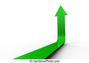 verde, flecha, señalar con el dedo arriba