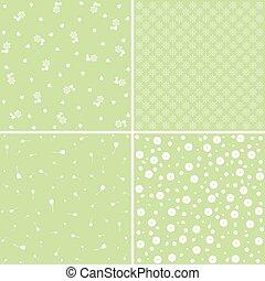 verde, flor, patterns.