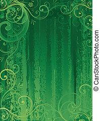 verde, floral, abstratos, fundo