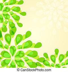 verde, floral, convite, cartão