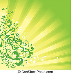 verde, floral, fundo