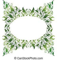 verde, floral, marco