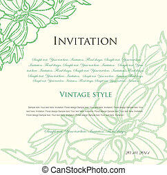 verde, floral, plano de fondo, para, design., vector