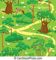 verde, floresta, paisagem