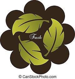 verde, folheia, saudável, logotipo