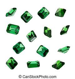 verde, fondo., bianco, smeraldo, gemstones, isolato