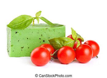 verde, formaggio, con, uno, basilico, e, pomodori