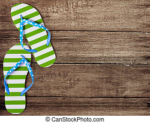 verde, fracaso de tirón, sandalias, en, viejo, tablas de...