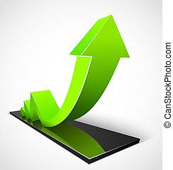 verde, freccia, affari, grafici
