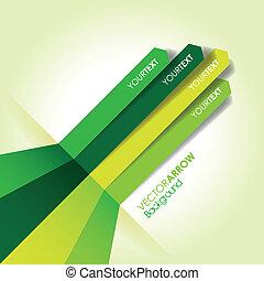 verde, freccia, linea, fondo