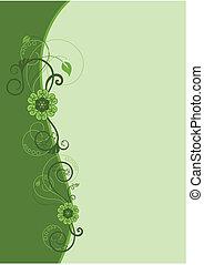 verde, frontera floral, diseño, 2