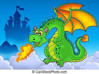 verde, fuego, dragón, con, castillo