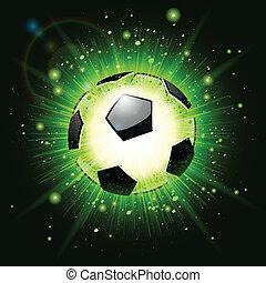 verde, futbol, explosión, pelota