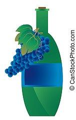 verde, garrafa, vinho