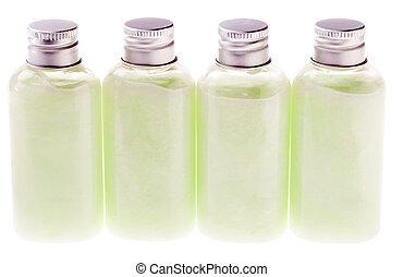 verde, garrafas, isolado, loção