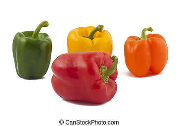 verde, giallo, arancia rosso, peperoni
