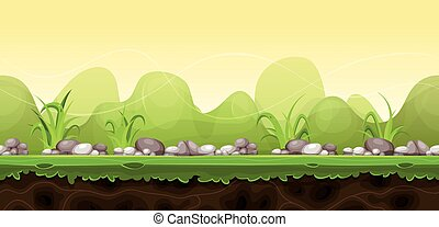 verde, gioco, ui, seamless, paesaggio