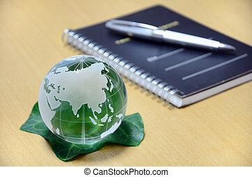 verde, globo vetro, (eurasian, continent).