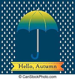 verde, gocce, ombrello, pioggia