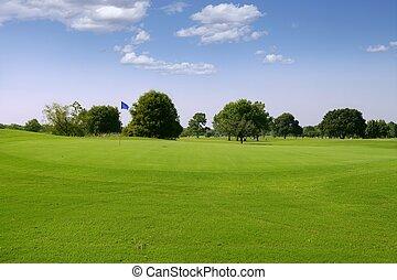 verde, golf, pasto o césped, paisaje, en, tejas