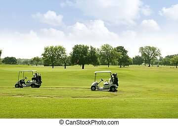 verde, golfe, capim, paisagem, em, texas