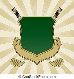 verde, golfe, escudo, ouro