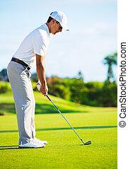 verde, golfer, pôr