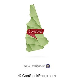 verde, gradiente, bajo, poly, mapa, de, new hampshire, con, capital, concordia