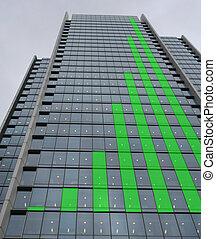 verde, grafico, sbarra, grattacielo, grafico