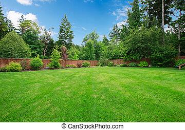 verde, grande, recintato, cortile posteriore, con, alberi.