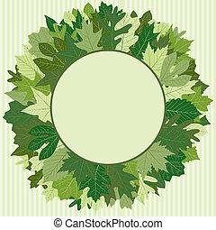 verde, grinalda, folha