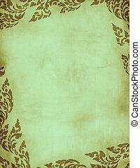 verde, grunge, floral, quadro