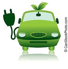 verde, híbrido, coche eléctrico, icono