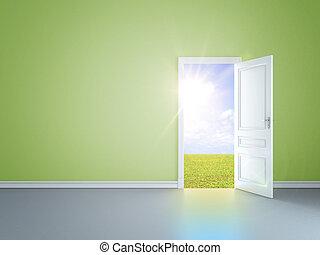 verde, habitación, y, puerta