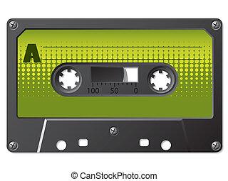 verde, halftone, etiquetado, cassete
