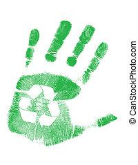 verde, handprint, con, reciclaje