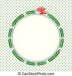 verde, helecho, hojas, círculo, marco de la foto