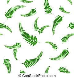 verde, helecho, hojas, seamless, pattern.