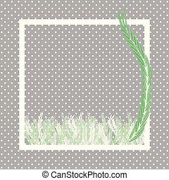 verde, helecho, hojas, y, punto blanco, marco