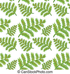 verde, helecho, seamless, patrón