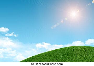 verde, herboso, hill., plano de fondo, nubes, y, sol