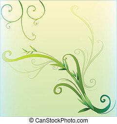 verde, hoja vid, frontera, diseño