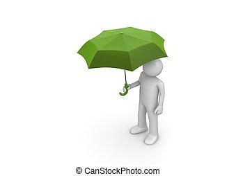 verde, hombre, paraguas, debajo