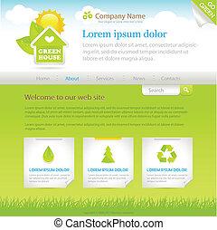 verde, house., sitio web, diseño, plantilla