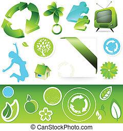 verde, icono, botones