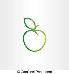 verde, icono, diseño, manzana, elemento