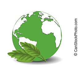 verde, icono, tierra